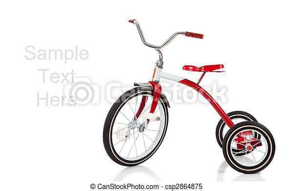 Child's red tricycle on white - csp2864875