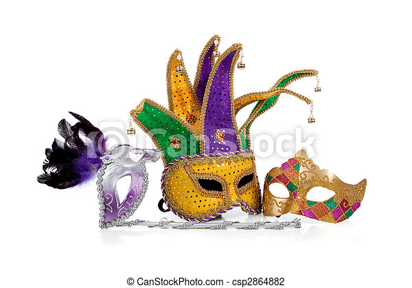 Several mardi gras masks on white with copy space - csp2864882