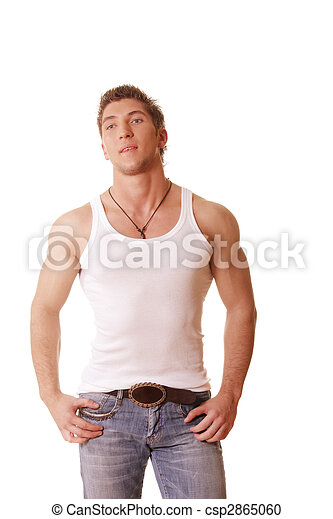 Guy in sleeveless shirt and jeans - csp2865060