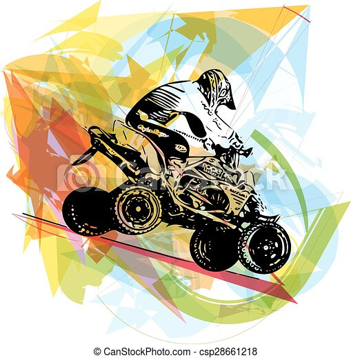 vector clip art of quad bike illustration on abstract