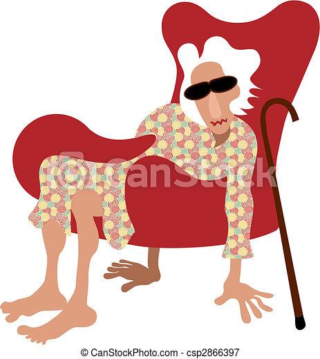 Vector Illustration Af Pensionist Gamle Dame Siddende