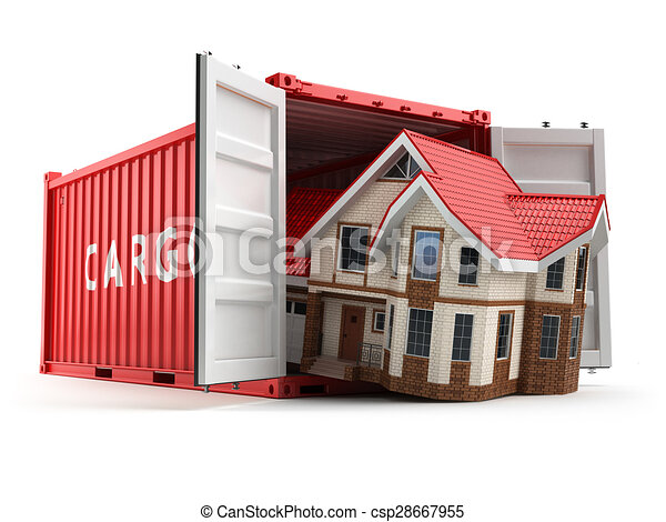 Stock Illustrations of Moving house. Home and cargo shipping ...