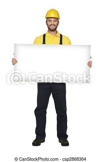 handyman hold white board - csp2868364