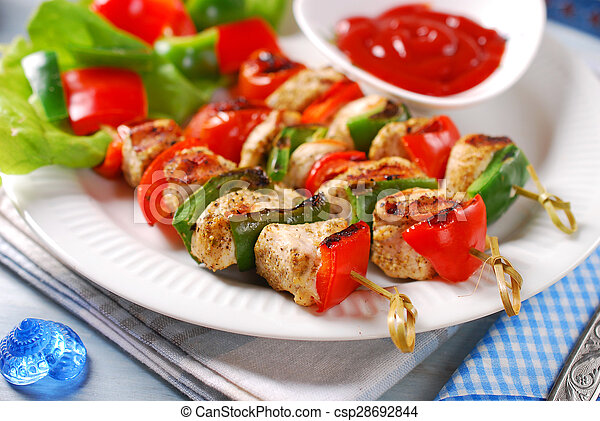 chicken and vegetable grilled skewers - csp28692844