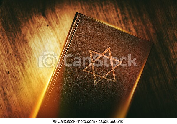 The Book of Judaism. Ancient Prayer Book with Judaism Star of David Symbol on Cover.