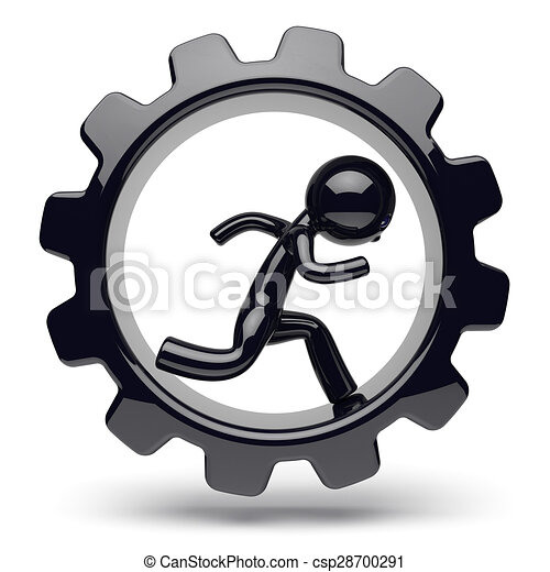 Runner man character gearwheel gear wheel businessman - csp28700291