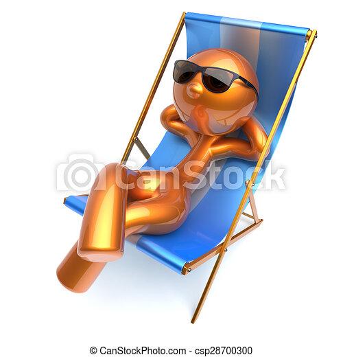 Clipart of Man relaxing cartoon character chilling beach deck ...