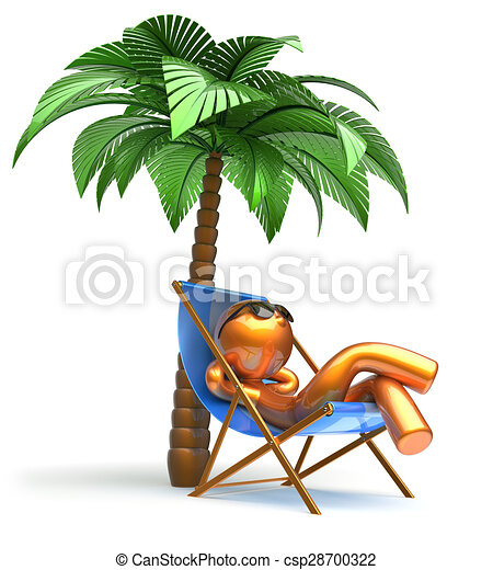 Clip Art of Man relaxing chilling beach deck chair palm tree ...