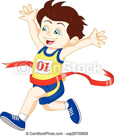 Vector Illustration of Boy ran to the finish line first - vector ...