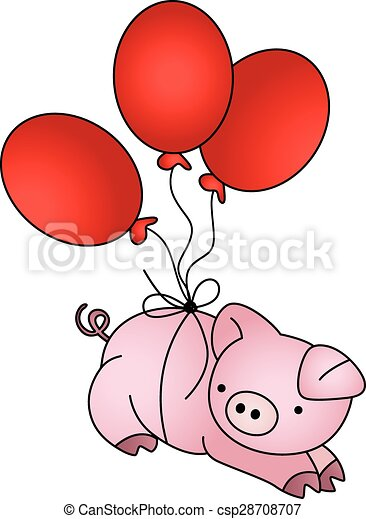 Stock Illustration of flying pig with a jet pack - A happy flying ...