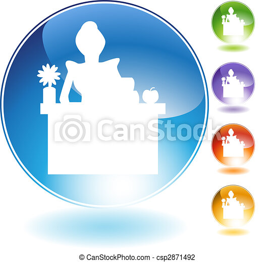 Female Teaching Crystal Icon - csp2871492