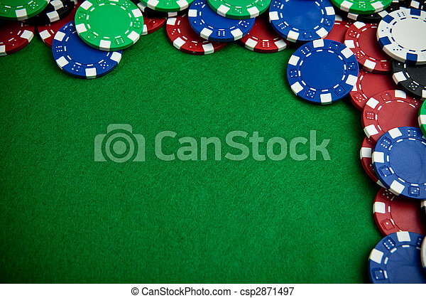 Casino gambling chips with copy space - csp2871497