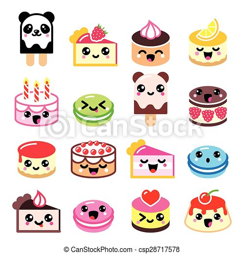 Illustrations vectoris es de kawaii mignon ic nes for Decoration cuisine kawaii