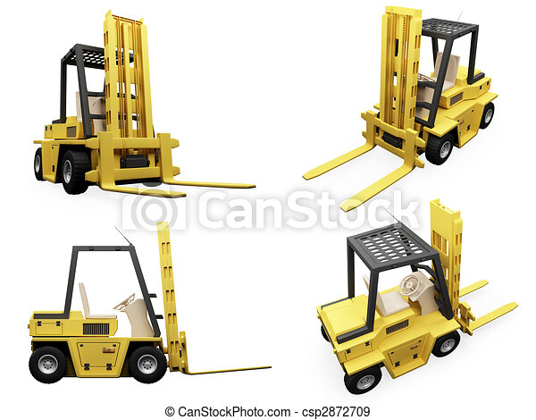 Collage of isolated fork truck - csp2872709