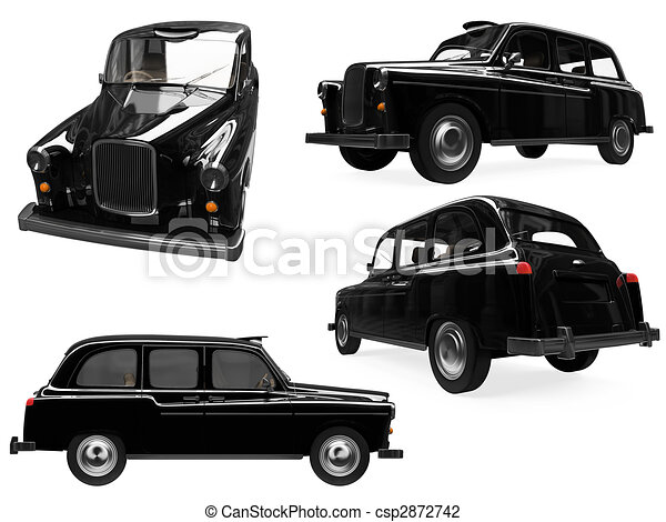London Black Cab Drawing Collage of Isolated Black Taxi