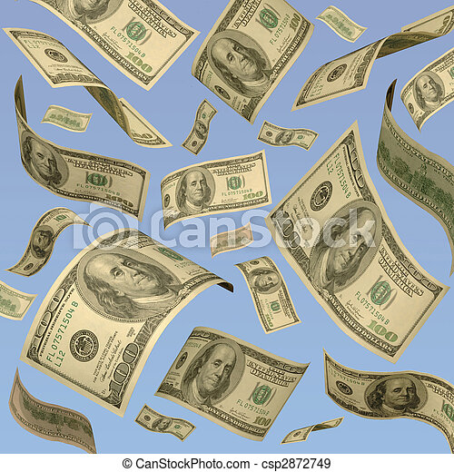 One hundred dollar bills floating against a blue sky. - csp2872749