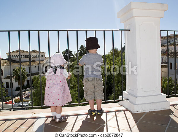 kids looking at the world - csp2872847