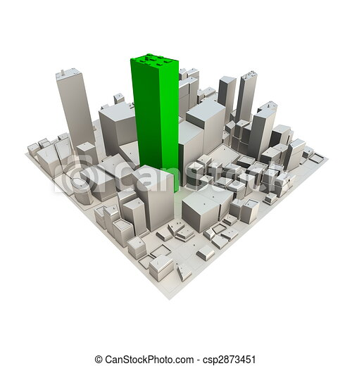Cityscape Model 3D - Green Skyscraper - csp2873451