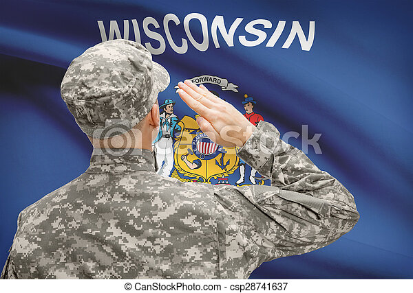 Soldier saluting to US state flag series - Wisconsin - csp28741637