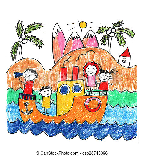 Happy family on cruise trip in ship - csp28745096