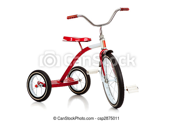 Child's red tricycle on white - csp2875011