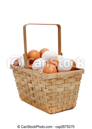 A basket of white and brown eggs on white - csp2875070