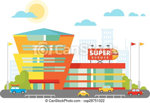 Supermarkt gebäude clipart  Vektor Illustration von gebäude, wohnung, ihm, supermarkt, fassade ...