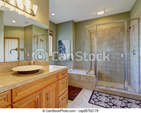 Perfect bathroom with bowl style sinks, and glass shower.