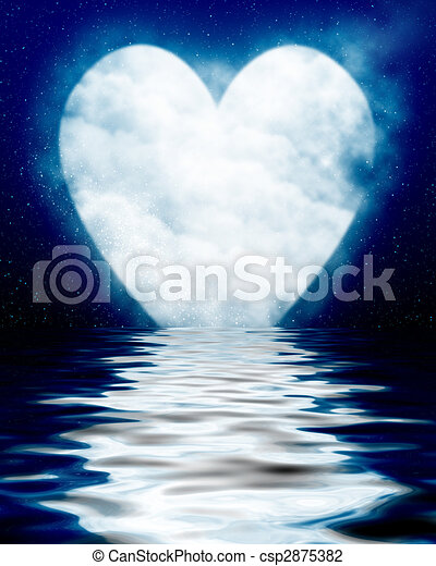 Heart shaped moon reflected in ocean - csp2875382