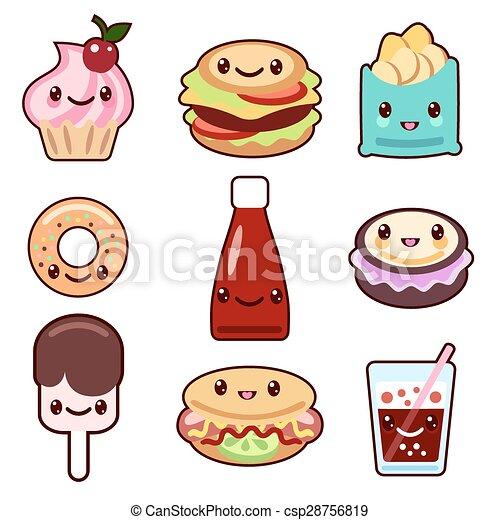 Vector Clip Art Of Kawaii Fast Food And Fruit Vector Set