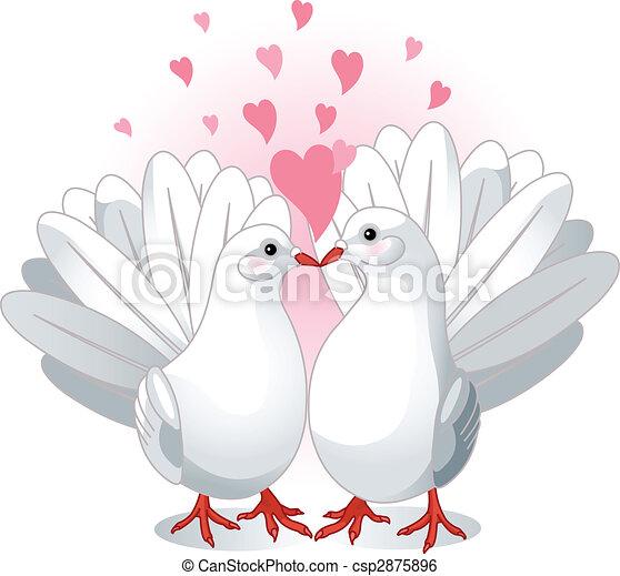 Clip art vecteur de amour colombes illustration de - Clipart amour ...