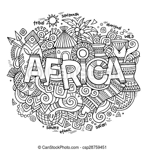 Africa ethnic hand lettering and doodles elements - csp28759451