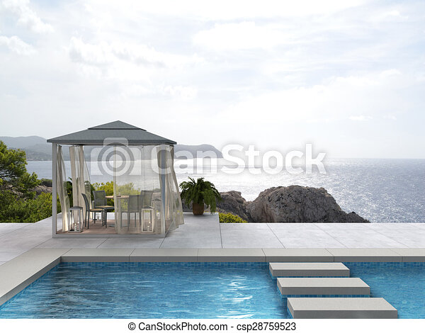 terrace, pool and the sea