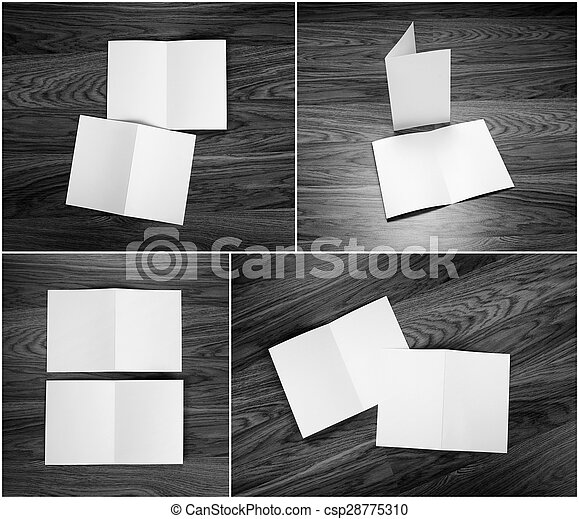 Identity design, corporate templates, company style, set of booklets, blank white folding paper flyer.
