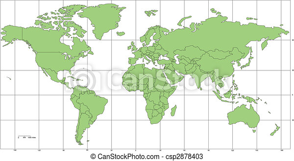 World Mercator Map with Countries and Longitude, Latitude Lines - csp2878403