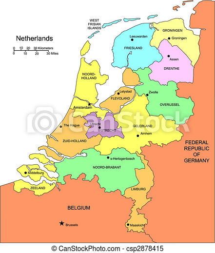 Netherlands with Administrative Districts and Surrounding Countries - csp2878415