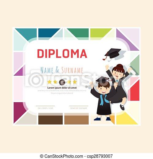 Vector Clip Art of Certificate kids diploma kindergarten template