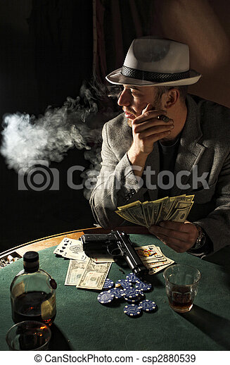 gangster smoking and play poker - csp2880539