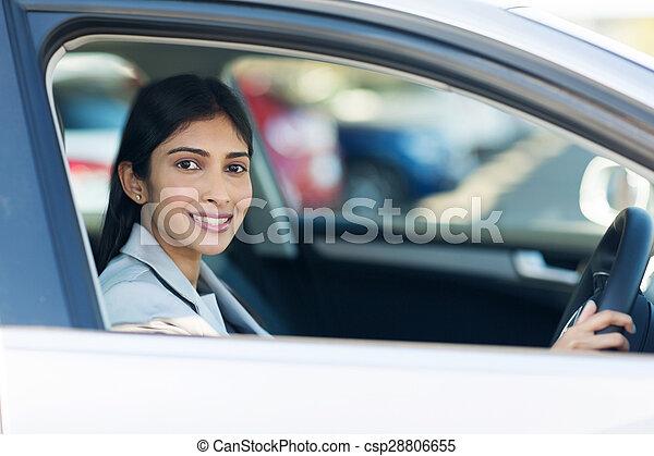 indian businesswoman inside her new car - csp28806655