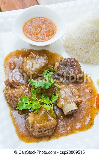 pork ribs with sweet sauce and rice
