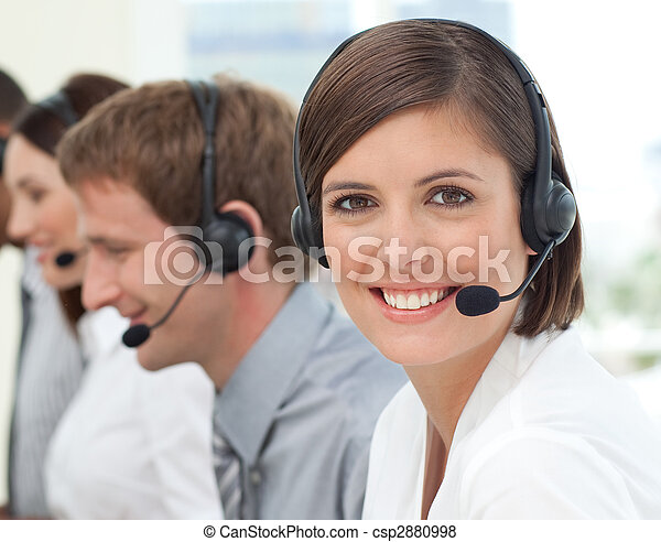 Female customer service agent in a call center - csp2880998