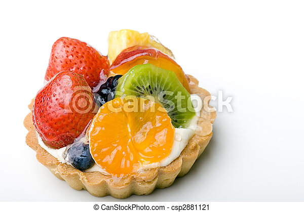 Strawberry, kiwi, tangerine, pineapple delicious dessert fruit tart pastry with whipped cream layer  - csp2881121