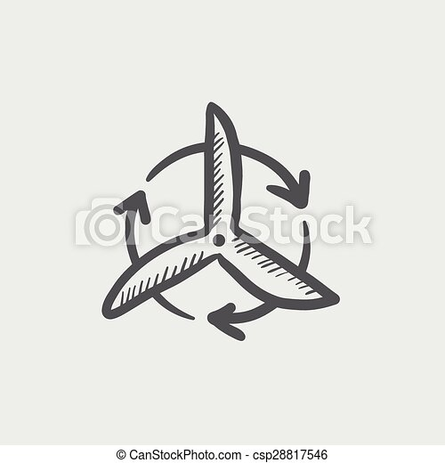 Windmill with arrow sketch icon - csp28817546