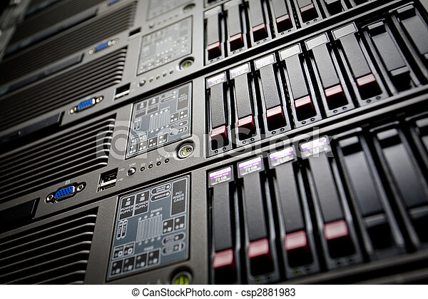 Servers stack with hard drives in a datacenter - csp2881983