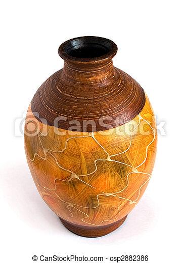 ceramic vase isolated on white - csp2882386