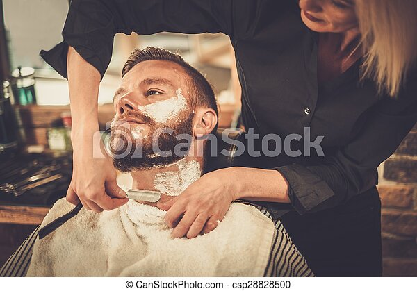 stock photography of client during beard shaving in barber shop csp28828500 search stock. Black Bedroom Furniture Sets. Home Design Ideas