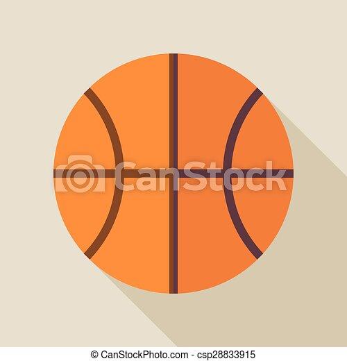 Flat Sports Ball Basketball Illustration with Long Shadow