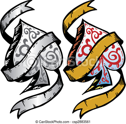 Ace of Spades tattoo style vector illustration - csp2883561