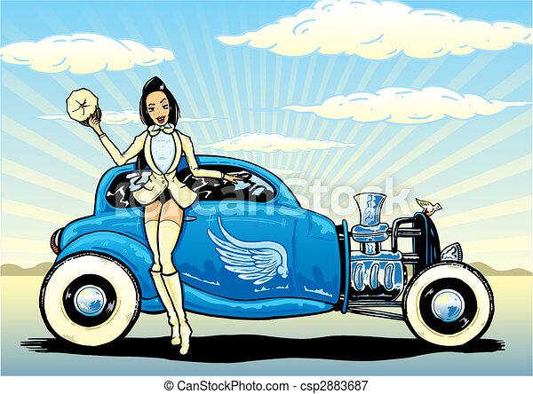Hotrod To Heaven kustom culture style pin up illustration - csp2883687
