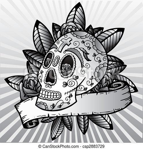 Day of the dead festival skull vector illustration - csp2883729